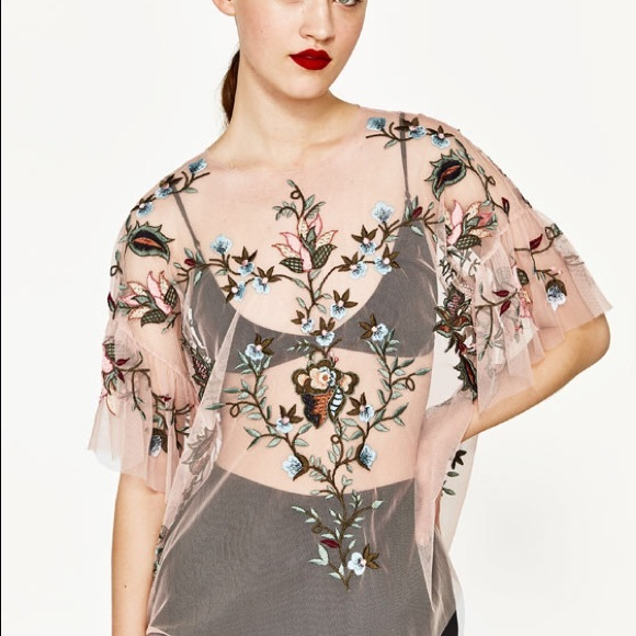 ZARA embroidered pink tulle top with flare sleeves